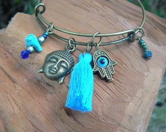 Boho bangle bracelet yoga bracelet zen bracelet BLUE tassel bracelet spiritual bracelet charm bracelet tribal fusion hippie festival gypsy