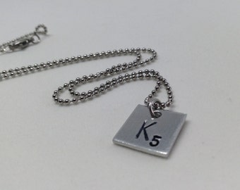 Tiny Scrabble piece tag pendant necklace... Monogram... Hand stamped jewelry