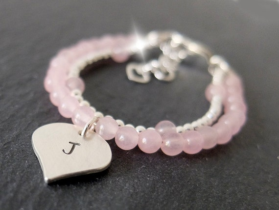 Personalised Childs Bracelet with Initials, Rose Quartz Personalised Childrens Bracelet. Childs Bracelet With Heart, Childrens Jewellery