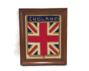 Vintage Union Jack Cross Stitch Framed Wall Hanging 1970s UK Flag United Kingdom Bohemian Home Decor Anglophile Gift British Invasion Wall