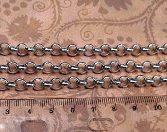 Stainless Steel 6 mm rolo chain-high quality-marine grade-steampunk-wallet jewelry watch burning man Di Vinci-KR128