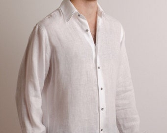 Men white linen shirt beach wedding party special occasion birthday summer