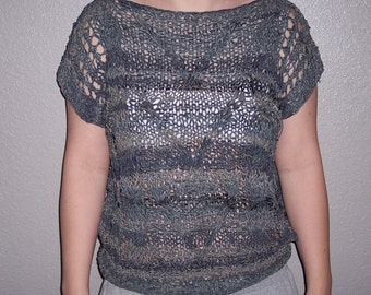 Vintage Woven leather shirt,leather top,cable knit,cap sleeves,boho,hippy,
