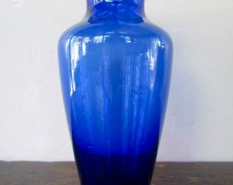 Sale 1940s Cobalt Blue Ruffled Collar Vase