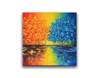 Colorful abstract art, yellow blue tree painting, contemporary home office wall decor, unique holiday gift