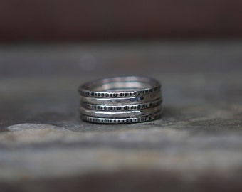 Mixed Textured Rings - Oxidized Silver Stacking Rings - Ombre Ring Set - Hammered Sterling Silver Rings - Set of 5 Rings - Minimal Rings