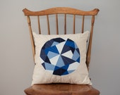 Blue Pillow - Sapphire Jewel, Quilted Gem - Pillow Cover