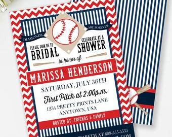 Baseball Bridal Shower Invitation, Baseball Couples Shower, Printable Invite, Sports Bridal Shower, Sports Couples Shower, #24