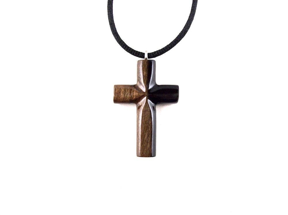 Mens Cross Necklace Wooden Cross Pendant Wood Cross