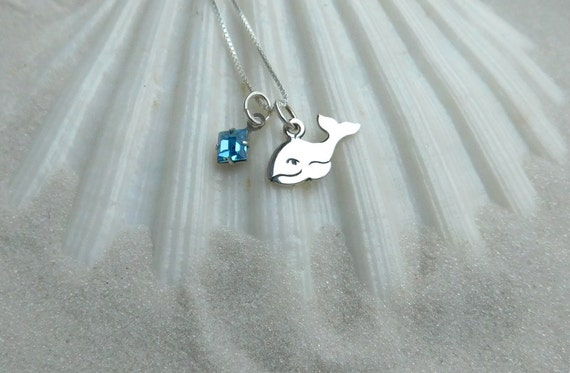 Sterling silver baby whale necklace, spiritual jewelry, ocean theme, sea life jewelry, birthstone necklace,