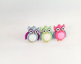 Coloful Owl Button Wire Wrapped Ring