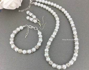 White Pearl Necklace Set White Pearl Rhinestones Necklace Bracelet Jewelry Bridesmaid Necklace Bridal Jewelry Bridesmaid Gift Classic Simple