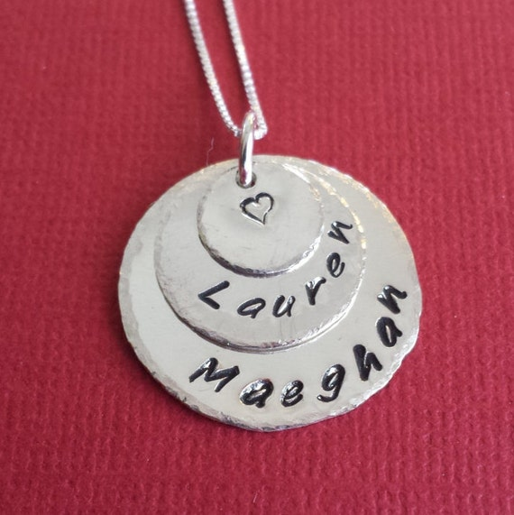 Mommy Necklace -  Necklace for Mom - Necklace with Kids Names - Hand Stamped Jewelry - Personalized Necklace - Sterling Silver Jewelry
