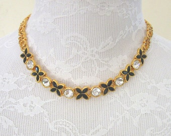 NAPIER crystal & black rhinestone flower link goldtone choker necklace - super sparkles! - x's and o's - Prom - Wedding - Free U.S. Shipping