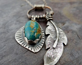 Raven Feather and Turquoise Pendant Necklace // hand forged feather // bezel set turquoise // silversmith jewelry (3852)