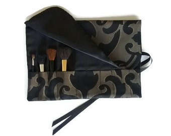 Makeup Brush Roll Make up Cosmetic Travel Bag Black and Gold