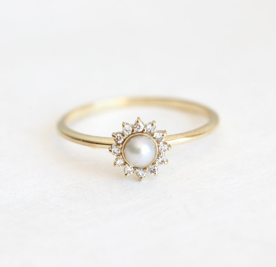 white pearl ring with diamonds pearl engagement ring by. Black Bedroom Furniture Sets. Home Design Ideas