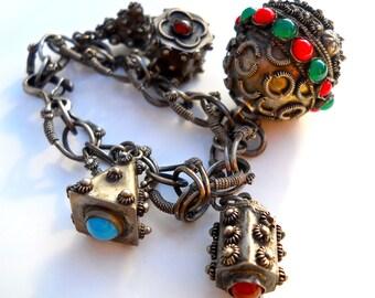 800 Silver Etruscan Charm Locket Bracelet, Gemstones & Glass, Chunky Vintage