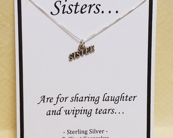 Sister Quote Gift Idea Sterling Silver Necklace