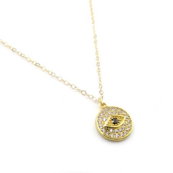 Pave Evil Eye Charm Necklace