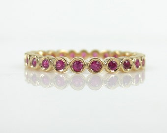 2.2mm Bezel Set Round Ruby Eternity Band in 18k Yellow Gold - Stacking Rings