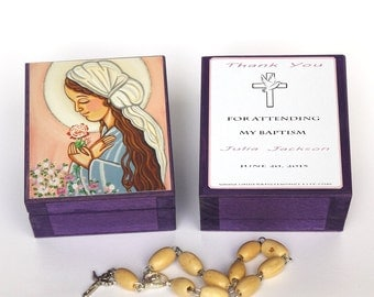 Our Lady Wooden keepsake box Virgin Mary print First Communion favors Rosary box Prayer card Rosary favors Girl baptism favors for girls