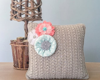 Crochet Throw Pillow Pattern (Throw Pillow Crochet Pattern by Little Monkeys Crochet) PDF Crochet Throw Pillow Crochet Pattern Flower Accent