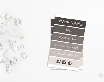 Printable business card design Striped business card Taupe business card Cream business card Neutral business card Grey business card