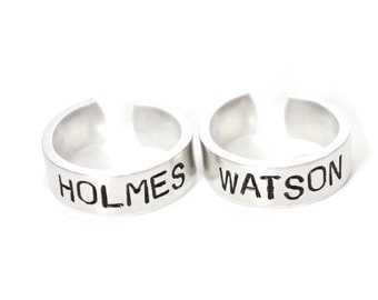 Sherlock Holmes inspired Custom Aluminum Adjustable Metal Stamped  Ring Pair .