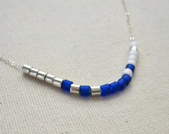 Royal Blue Color Blocked Sterling Silver Choker Necklace