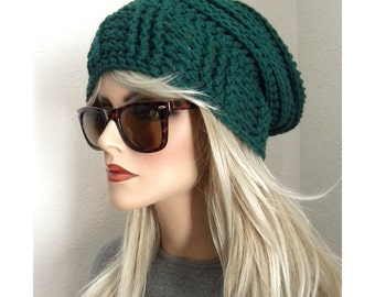 Emerald Green Slouchy Beanie, Oversized Slouch Hat, Green Hat, Crocheted Hat, Winter Accessories, Gift for Her