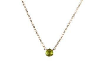 Peridot Necklace, August Birthstone, Gold Filled Peridot Necklace, Simple Birthstone Necklace by Jacqueline Ashworth
