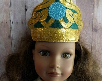 Irish Celtic Princess Doll Tiara- Gold and Blue Glitter Canvas with Jade Green Embroidery, Fits 18 Inch Dolls, Made in USA, Quick Ship