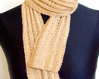 SALE Camel / Honey Skinny Ribbed Hand Knit Scarf