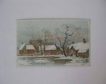 Christmas - HOLD TO The LIGHT - Vintage Holiday Post Card - Sleepy Village on a Snowy Day - Used - 1920s