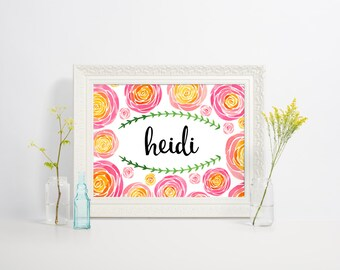 Personalized Flower Art Print - your choice of name or initials