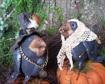 Primitive Folk Art doll  Crow