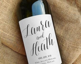 Custom Calligraphy Style Wine Labels