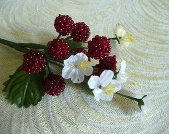Millinery Raspberry Spray Ruby Red Berries Beaded Fruit with Flowers for Hats Crafts Hair Crowns Clips Costumes