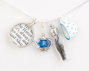 Alice in Wonderland Necklace - Alice in Wonderland Tea Necklace - Alice in Wonderland Jewelry - Mad Tea Party - Mad Hatter Tea Party