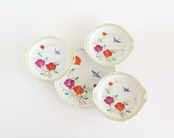 NIPPON Brightly Hand Painted Bird and Flower China Plates