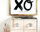 XO - Typographic Print - Hand Lettering - xoxo - Hugs and Kisses - Love Quote - Anniversary Gift - Love You Like xo - xo Wall Art