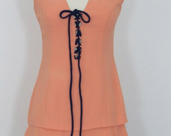 1960s Peach Crepe Mini Dress with Lace-up Bodice