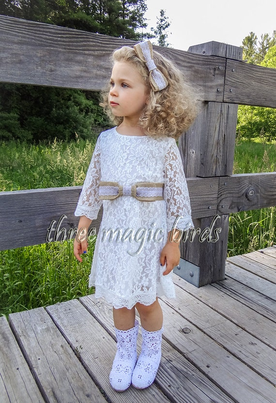 Ivory Rustic Lace Flower Girl dress - Burlap Flower Girl Dress, Lace Baby Dress. Brand New · Unbranded. $ Buy It Now +$ shipping. Fancy Ivory White Lace Boho Rustic Flower Girl Dress Year Old B-ivory 10 See more like this. SPONSORED. Open Back Flower Girl Dress, Lace Rustic Flower Girl Dress. .