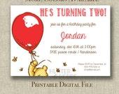 Printable Classic Pooh Birthday Party Invitation - invite - bear - balloon