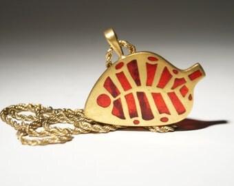 Bernard Chaudron Necklace - Bronze Enamel - Double Sided - Fish Pendant - Brutalist Modernist - Quebec Canada - 1960's