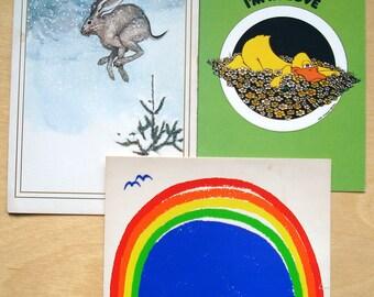 3 Vintage Retro Graphics Notecards Rainbow Arts Sunrise Titanic 1970s Collectibles  Blank and Rejoice!