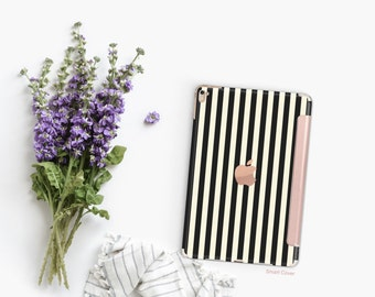 Platinum Edition Black Stripes with Rose Gold Detailing Hybrid Smart Cover Hard Case for the iPad Air 2, iPad mini 4 , iPad Pro