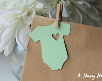 Onesie Gift Tags ~ Baby Shower ~ Mint Green ~ Heart ~ Favor Tags ~ Set of 25