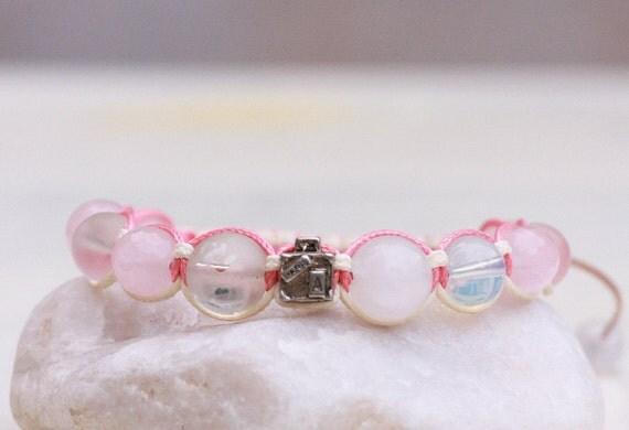 Rose quartz bracelet, Paris Love bracelet, Natural stones bracelet, Pink macrame bracelet, Ballance Protection Bracelet, Quartz Opalite